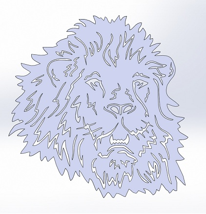 Face of a lion cut on the cnc laser machine