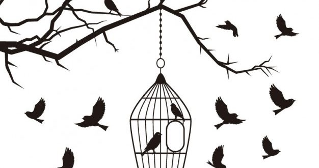 Vector bird for laser cutting or cutting wall stickers