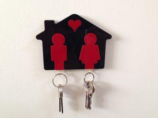 wood key ring house