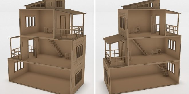 Modern House for laser cutting or cnc router cut