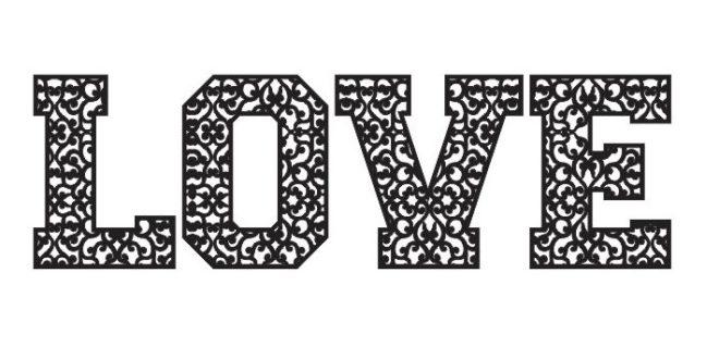 Vector word love in arabesque