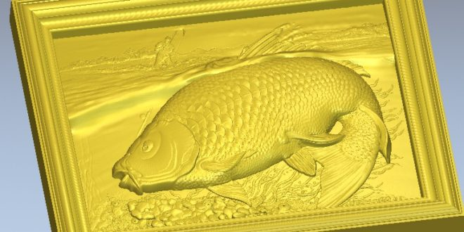 3D Relief of Fish Frame 194