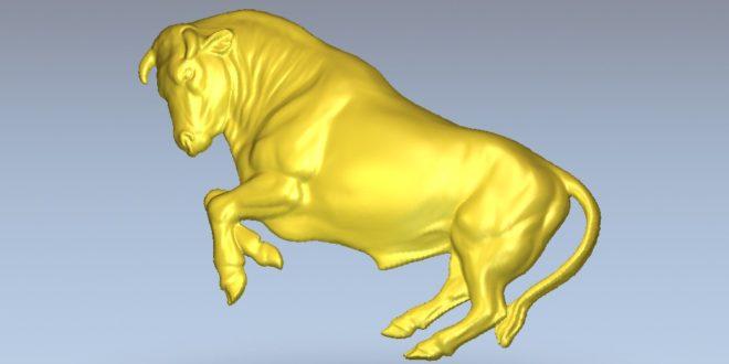 Bull 3D Model Relief for Milling 279