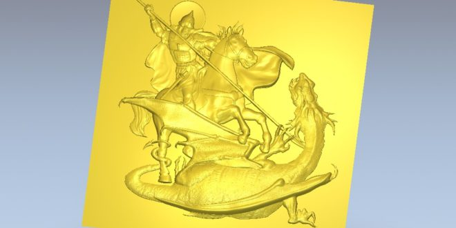Saint George and the dragon Relief for Machining in CNC router router 291