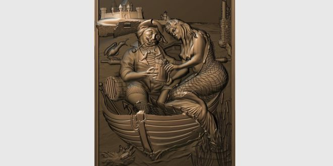 Panel of fisherman with mermaid 301