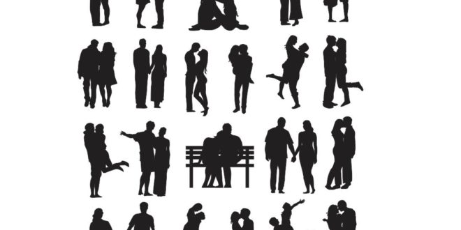 Silhouette of couple in love wedding