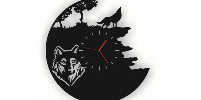 wolf clock cdr and dxf vector file to laser vynil