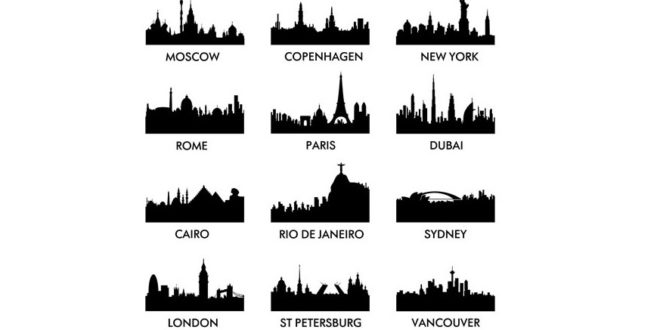 World famous cities silhouettes vectors
