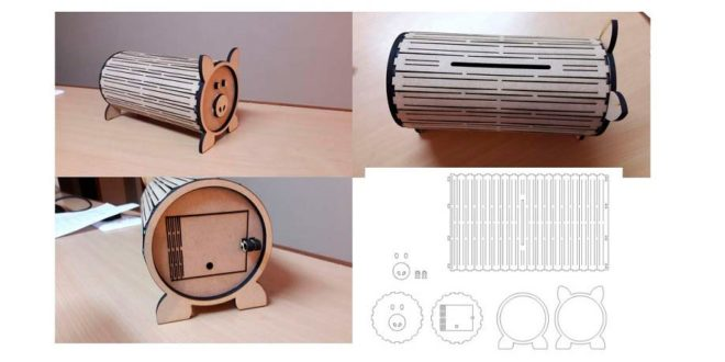 Piggy bank for laser cutting DXF