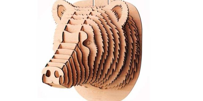 Bear Head Vector for Wall – 3mm Wood  – DXF CDR