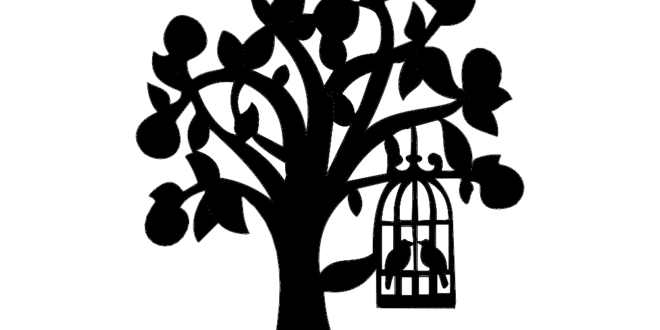 Silhouette of tree with bird cage