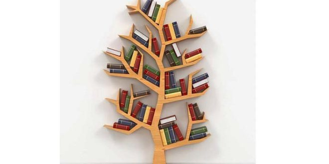 Wall shelf in tree format with several cut plates