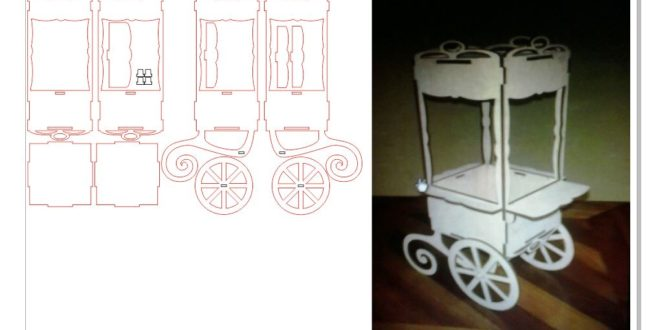 Candy cart – DXF and CDR vectors for laser cutting