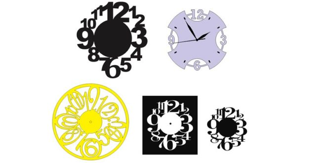Various wall clocks for cnc machine cutting – DXF CDR Files