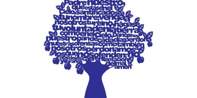 Vector de arbol con la oración del padre nuestro en español – dxf cdr Vector of tree with prayer of our father in Spanish