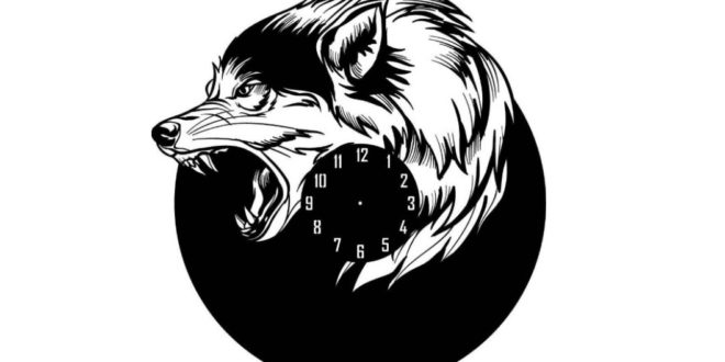 Wolf or dog clock watches vector