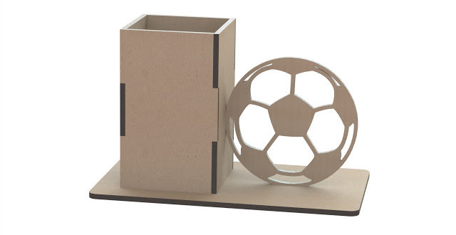 Pencil Holder with a ball to laser cut 3mm sheet