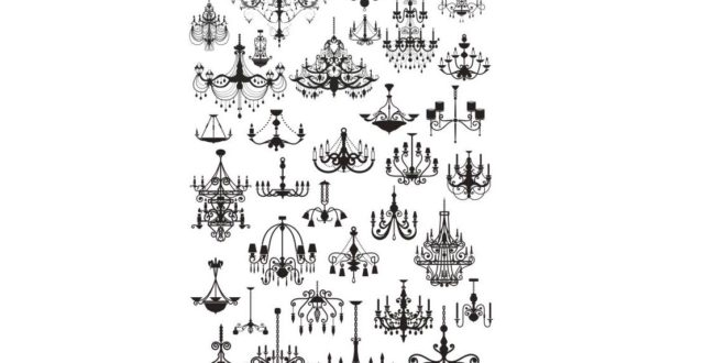 2D Silhouette of chandeliers