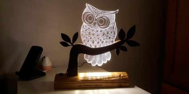3D illusion file for owl acrylic laser engraving DXF CDR vector