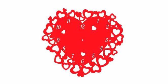 Heart wall clock dxf cdr vectors Rayjet Retina Engrave Elekslaser Pangolin