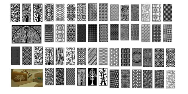 Pack hollow elements for cutting in cnc machines 55 ready templates dxf cdr files vectors