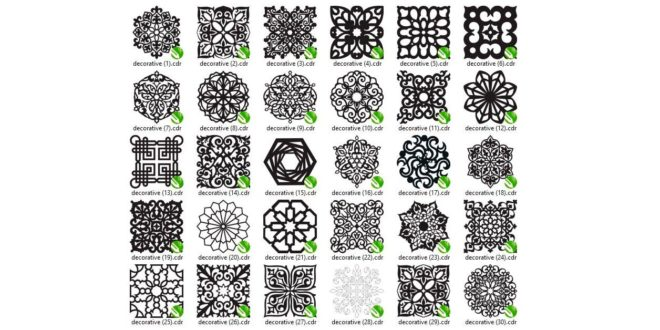 Kit 30 cdr and dxf square round decorative vector templates