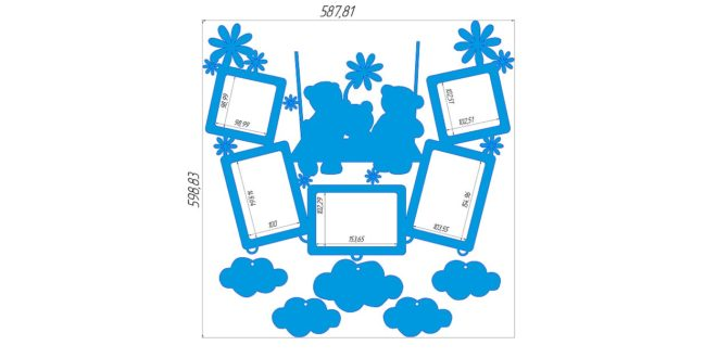 Children's room photo panel dxf cdr files ready to cut lasercad artcam