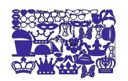 DXF CDR Files vectors glasses masks ties mouths hat crowns