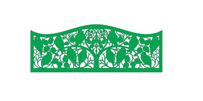 Tree birds separator panel vector 2d to cut