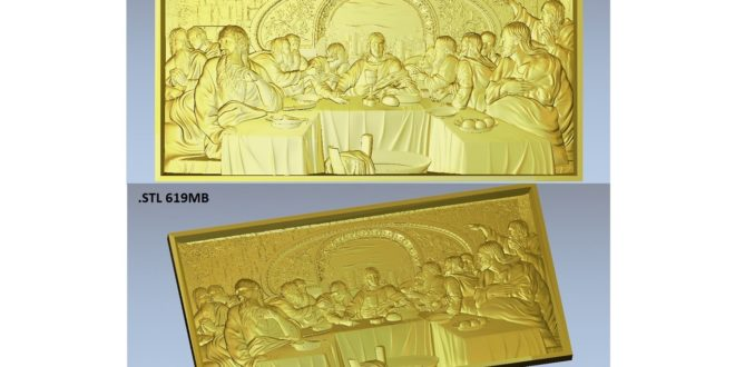Relief holy supper 3D STL CNC Router 3D Print Artcam vectric aspire vcarve and others softwares