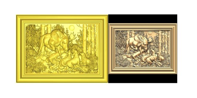 Hunting dogs fighting with deer – STL CNC File