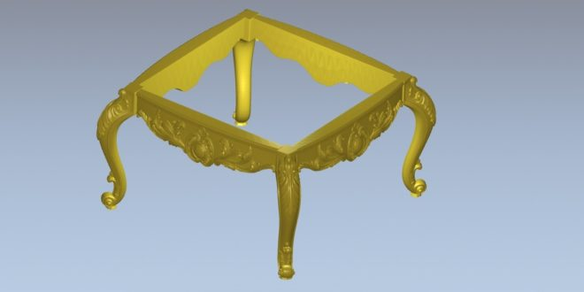 Square table with separate parts STL file to cnc milling