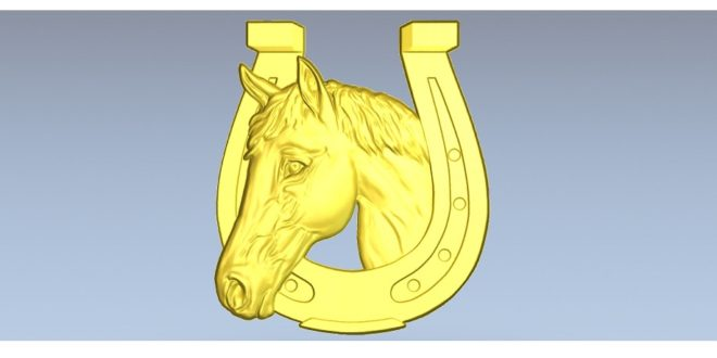 Horseshoe horse relief 3D model STL file for cnc router milling machines 1590