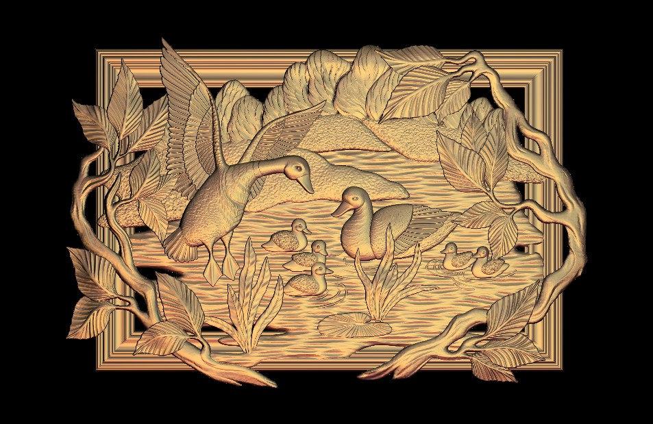 Deer hunt panel 3d model relief for cnc in STL file