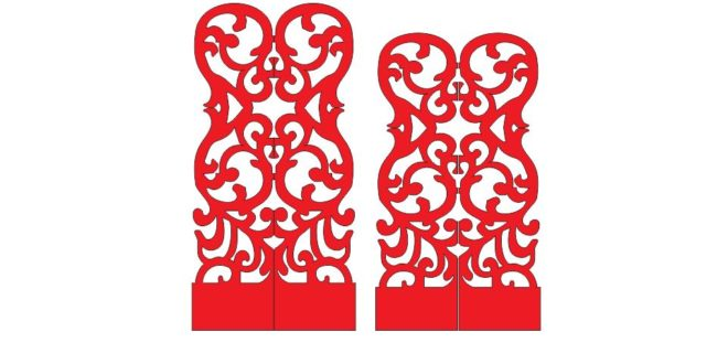 Decorative 2d ornament halved dxf cdr files to cut download