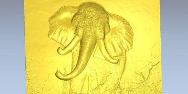 Elephant relief frame 3d stl