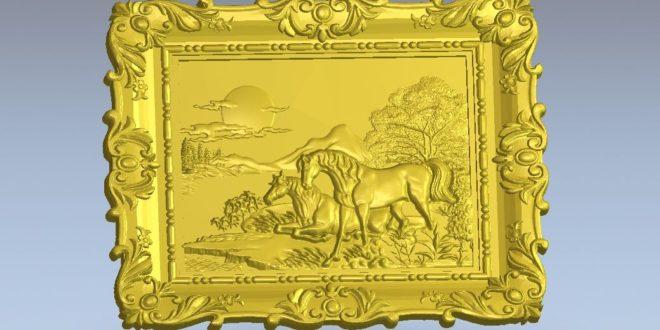 Horses frame 3d relief animal stl model artcam