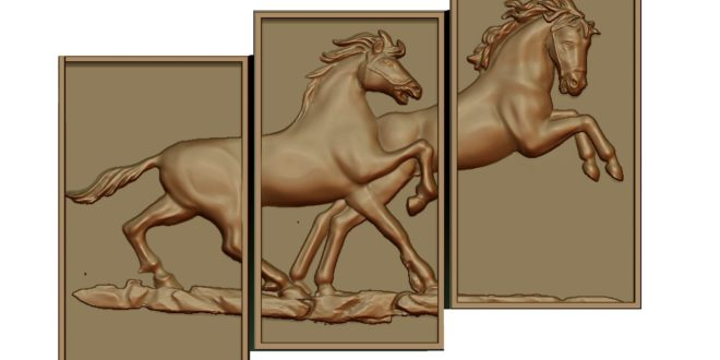 Horseboard divided into 3 parts horse frame 3D STL ArtCAM Files
