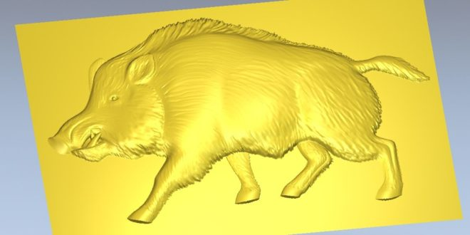 Boar pig 3d animal to cnc router relief vector 3d