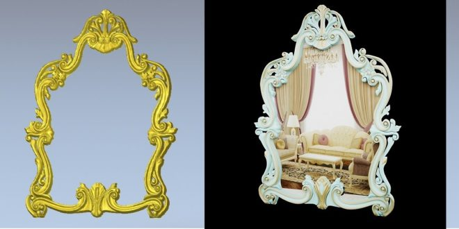 3D vector cnc router decorative frame for mirrors and photo frame