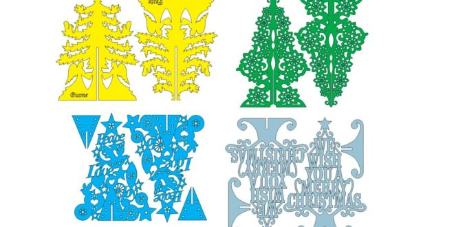 Pack of 4 christmas tree models dxf files vectors to laser cut