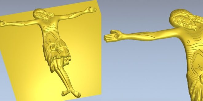 Jesus christ crucified on the cross religious 3d relief