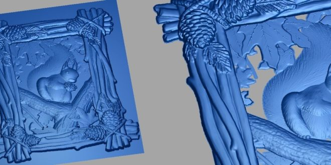 Squirrel frame in the wild stl 3d relief cnc router wood panel