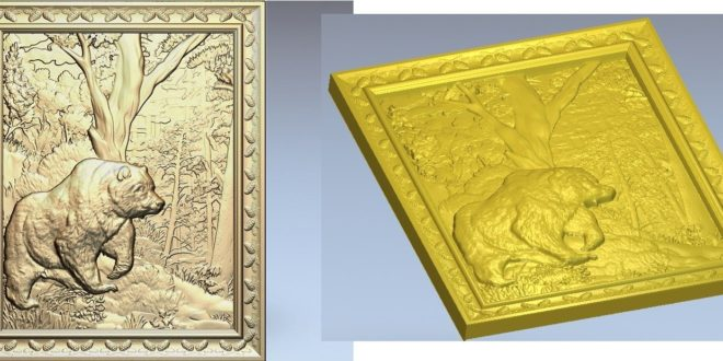 Bear 3d frame STL relief to cnc router wood engrave carve