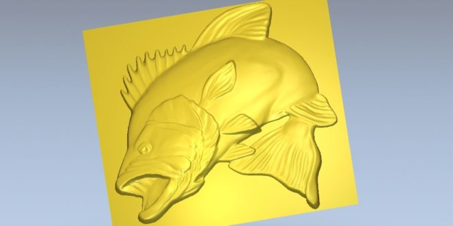 Fish with open mouth 3d file relief animal cnc router