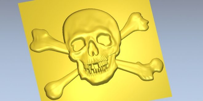 Pirate skull relief to milling cnc router or 3d print stl