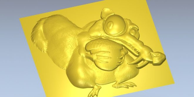 Squirrel Scrat from the ice age movie stl 3d file relief