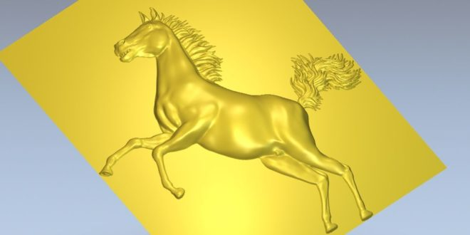 Horse model of bas-relief for cnc router 3d stl file
