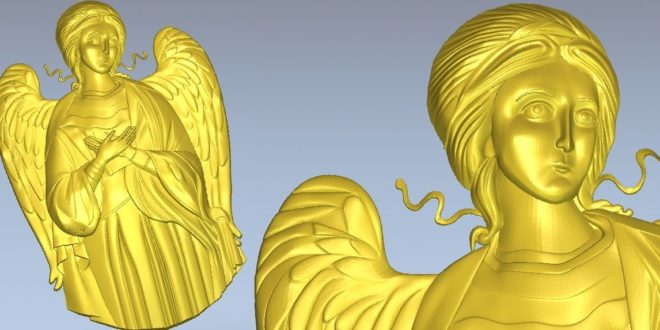 Angel relief 3D STL Model for CNC Router Machine Relief Artcam Aspire Vectric Cut3D CarveWright CamBam