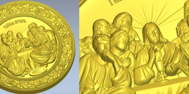 The Last Supper Round Frame 3D STL File Model for CNC Router